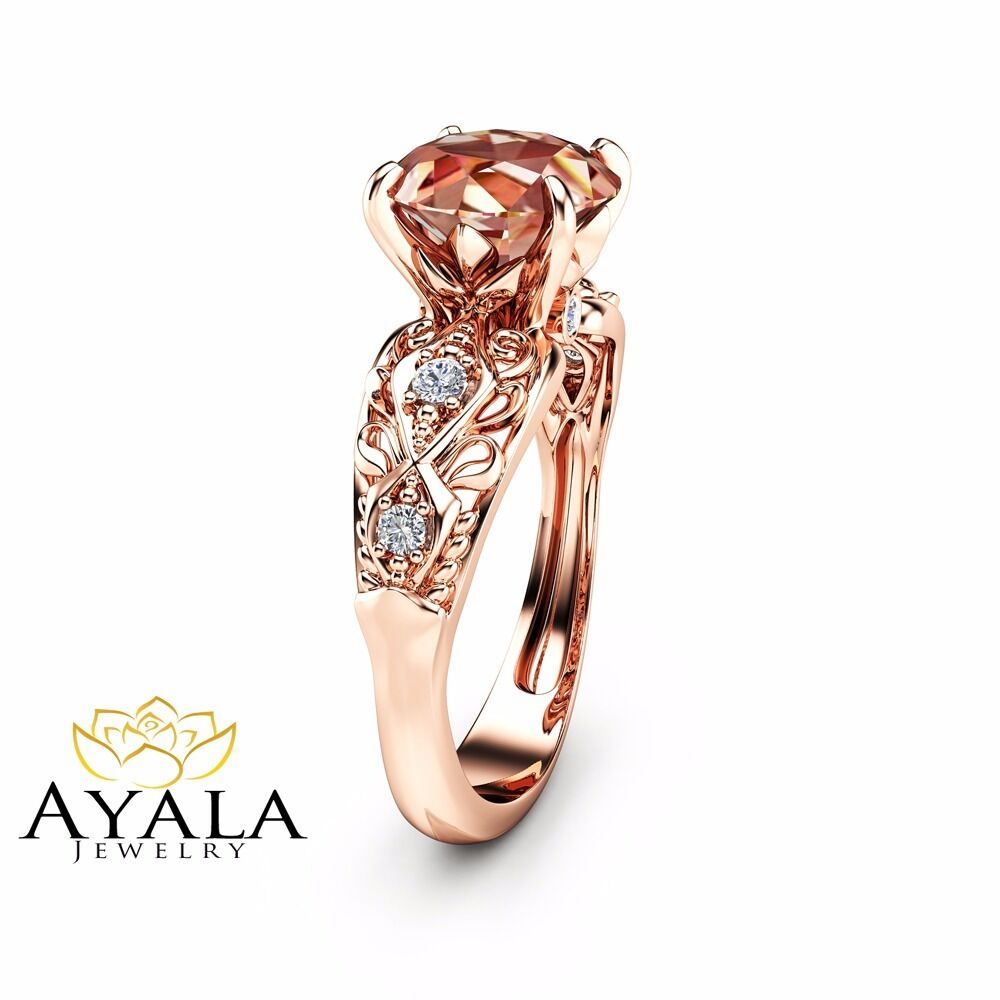 Rose Gold Morganite Rings Engagement