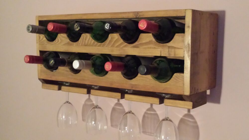Upcycled Rustic Wall Mounted Wine Rack 10 Wine Bottle