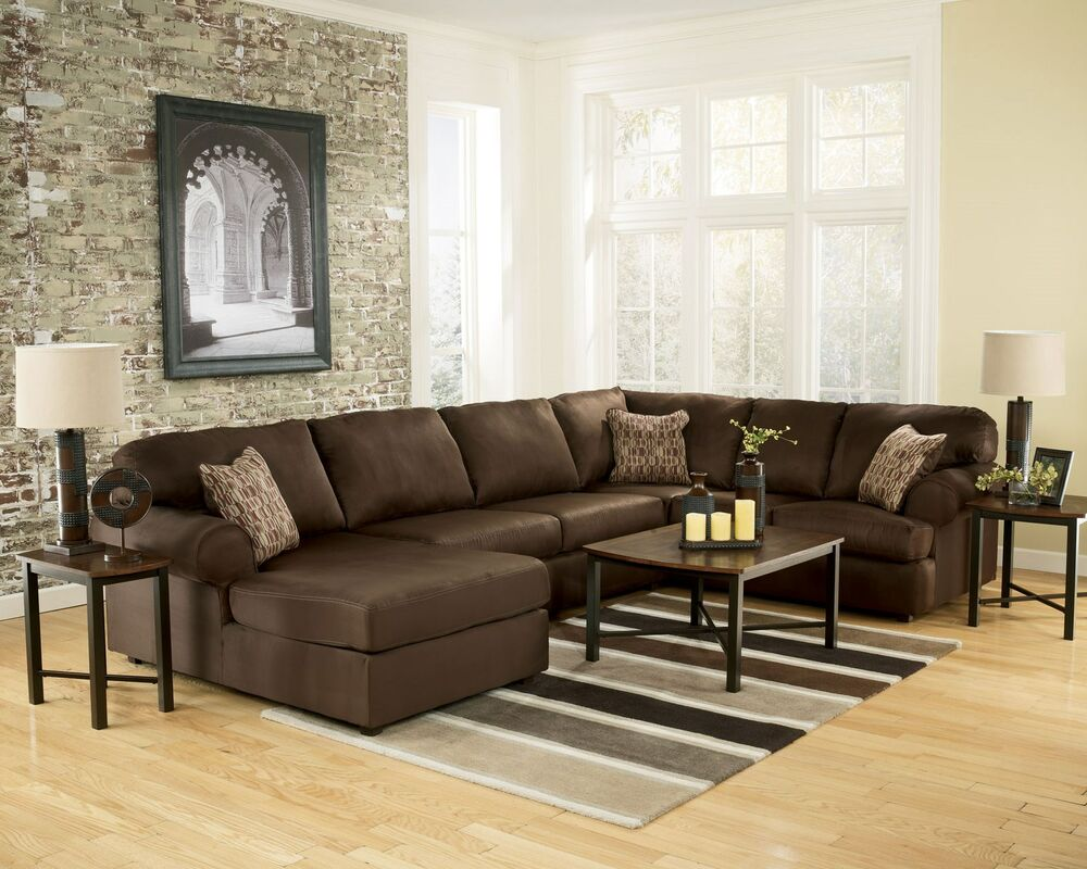 Maya large modern chocolate microfiber living room sofa for Ashley brown sofa chaise