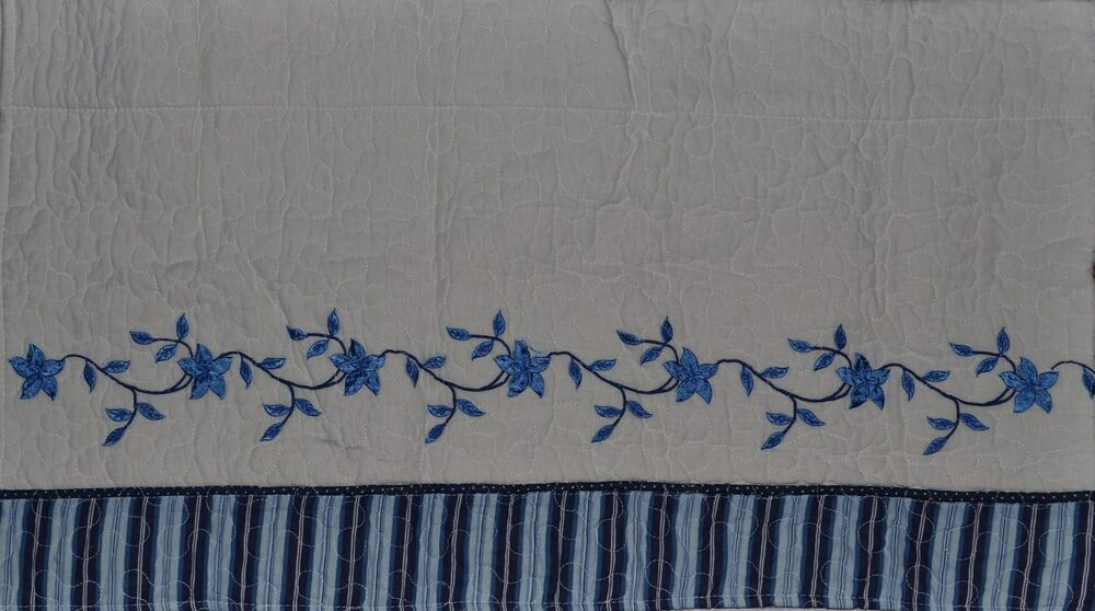 ... Quilted Blue~White~Embroidery Flower Vine~Curtain~JC Penney~NEW | eBay