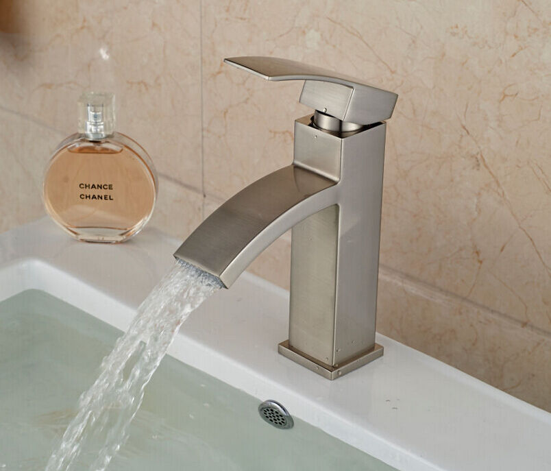 NEW Waterfall Brushed Nickel Bathroom Basin Faucet Square ...