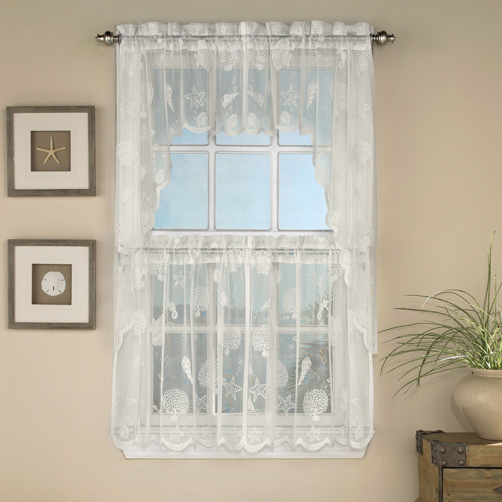Reef Marine Ivory Knitted Lace Kitchen Curtains Choice Of