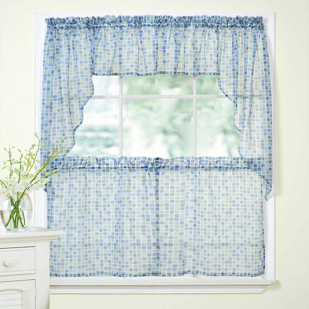 Tiles Block Print Blue/Green Sheer Voile Kitchen Curtains