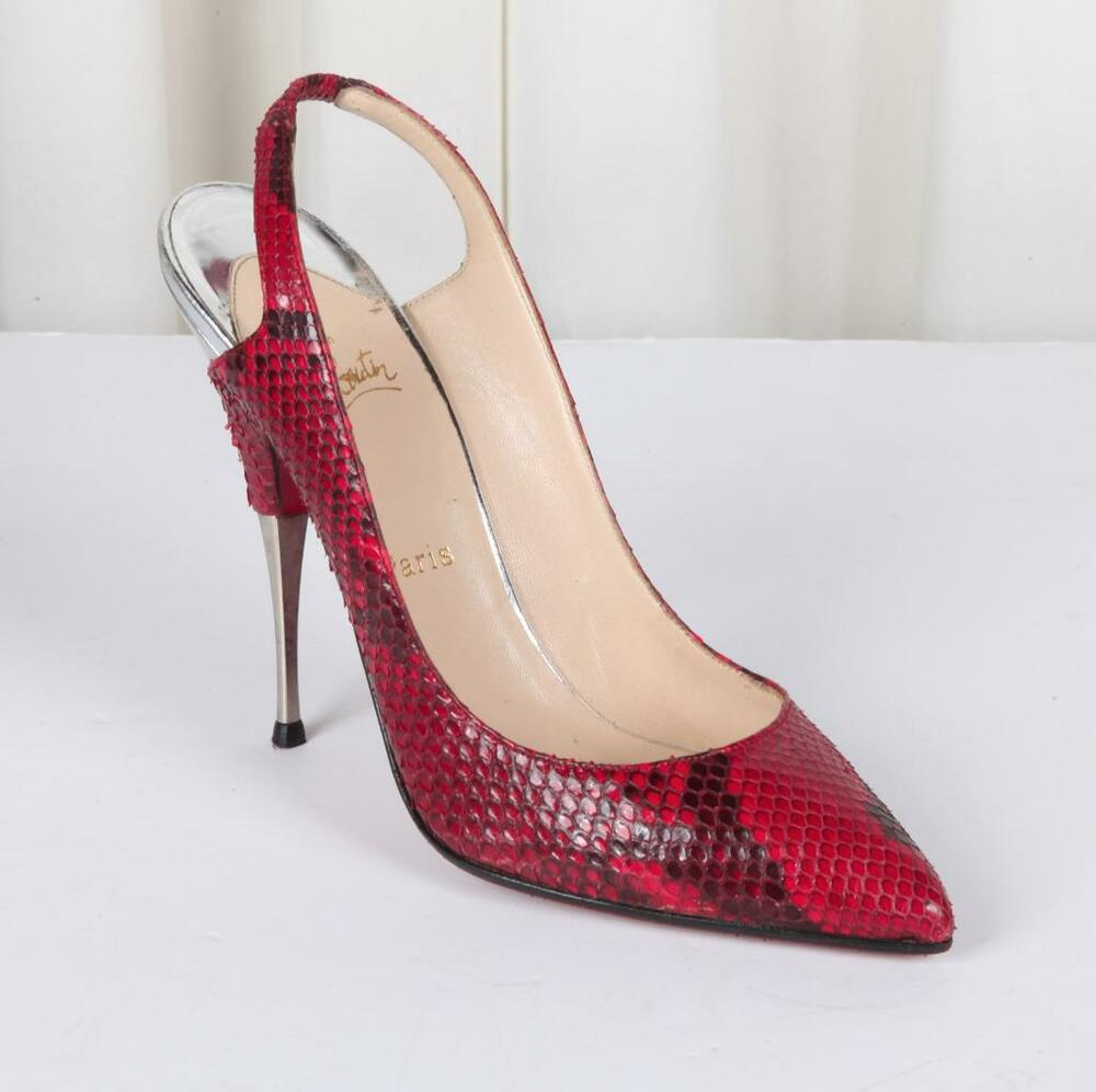 christian louboutin womens red snakeskin silver high heel. Black Bedroom Furniture Sets. Home Design Ideas