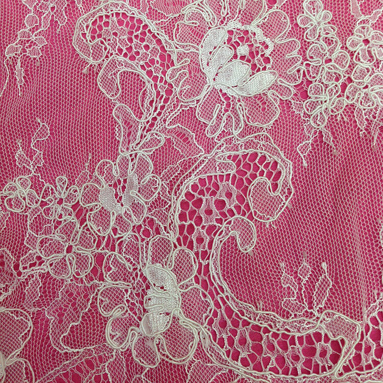 Chantilly lace off white wedding lace fabric dress corded for Wedding dress lace fabric
