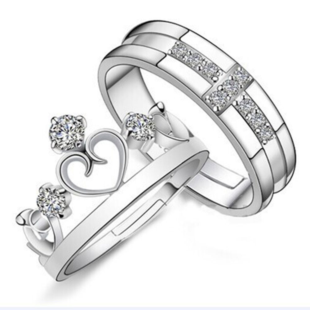 Wedding Rings For Her: Silver Prince Princess Queen Couple Rings Wedding Band His