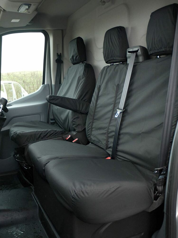 black front seat covers fully tailored waterproof set ford transit mk8 2014 on ebay. Black Bedroom Furniture Sets. Home Design Ideas