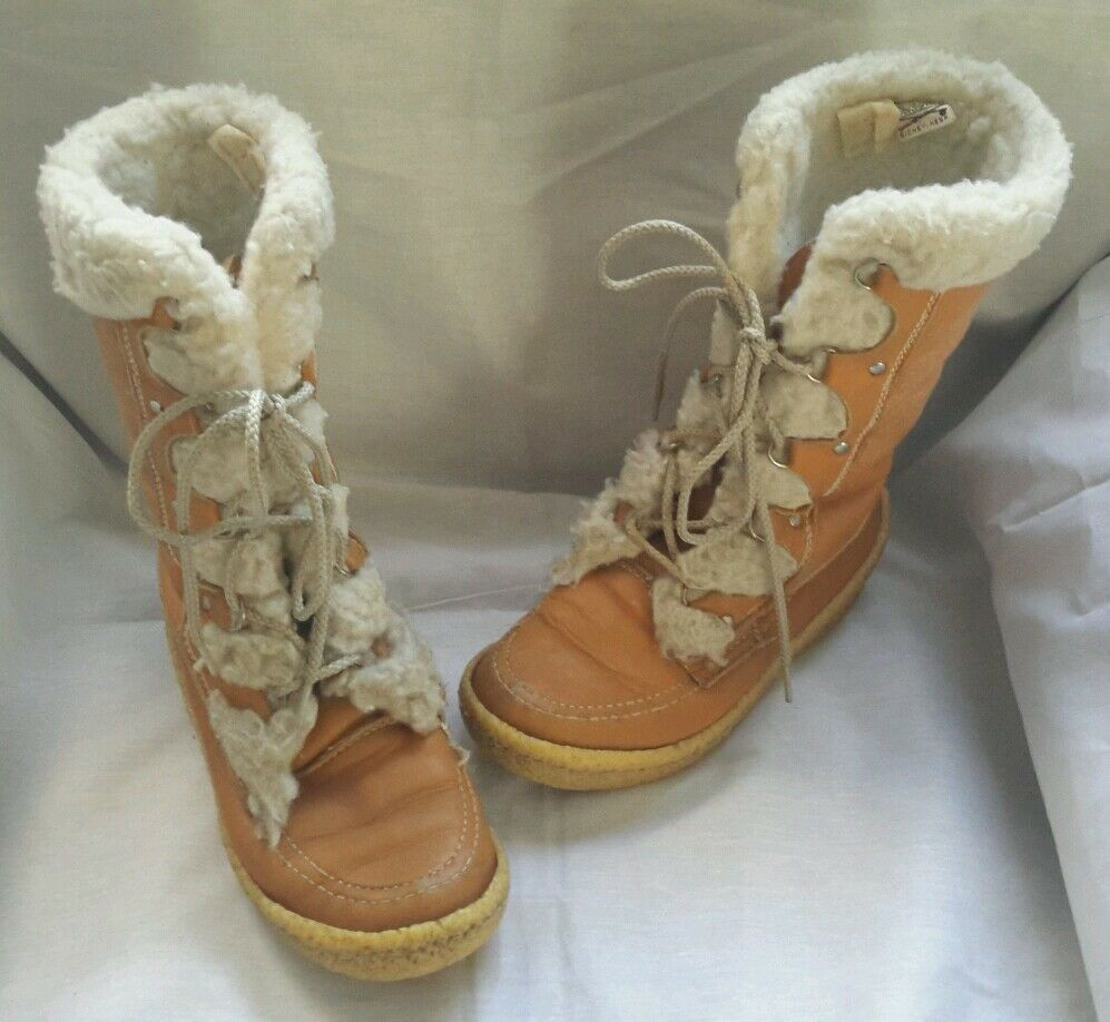Womens Vintage Cabelas Shearling Suede Mukluks Boots Brown