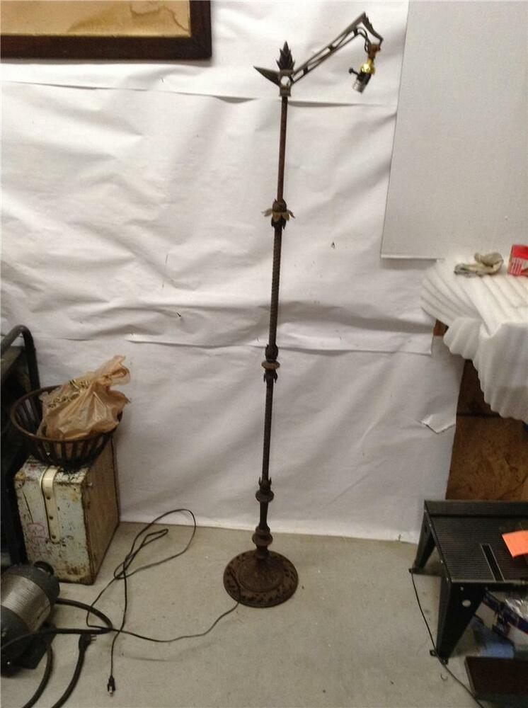Antique Art Deco Flower Floor Lamp Flower Pattern 8 Ebay