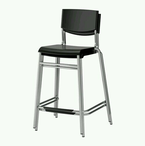 Pc black metal seat kitchen dining chair modern back stackable ebay