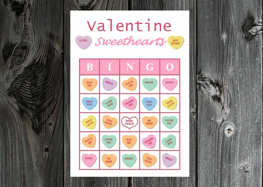 Valentine Sweethearts Valentines Party Game Bingo Cards On