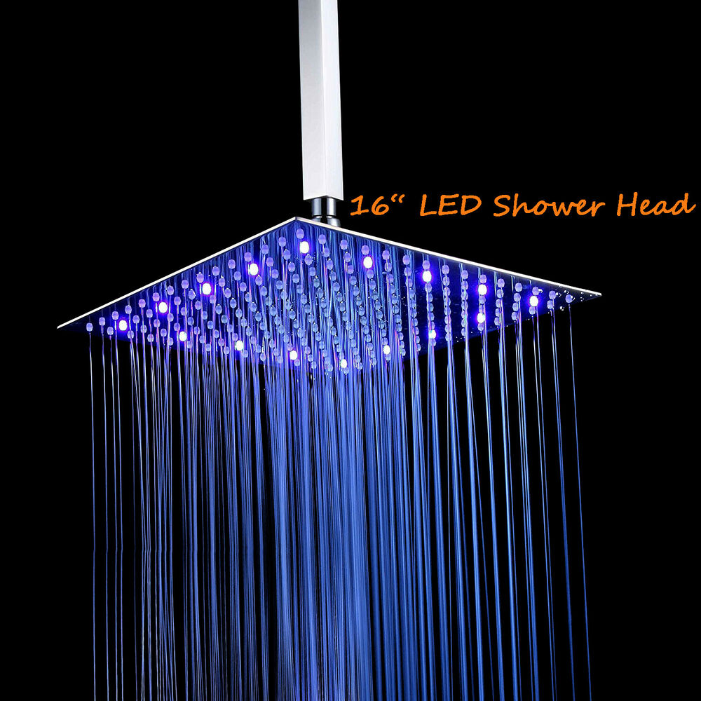 16 Oil Rubbed Bronze LED Rain Shower Head Solid Brass Top