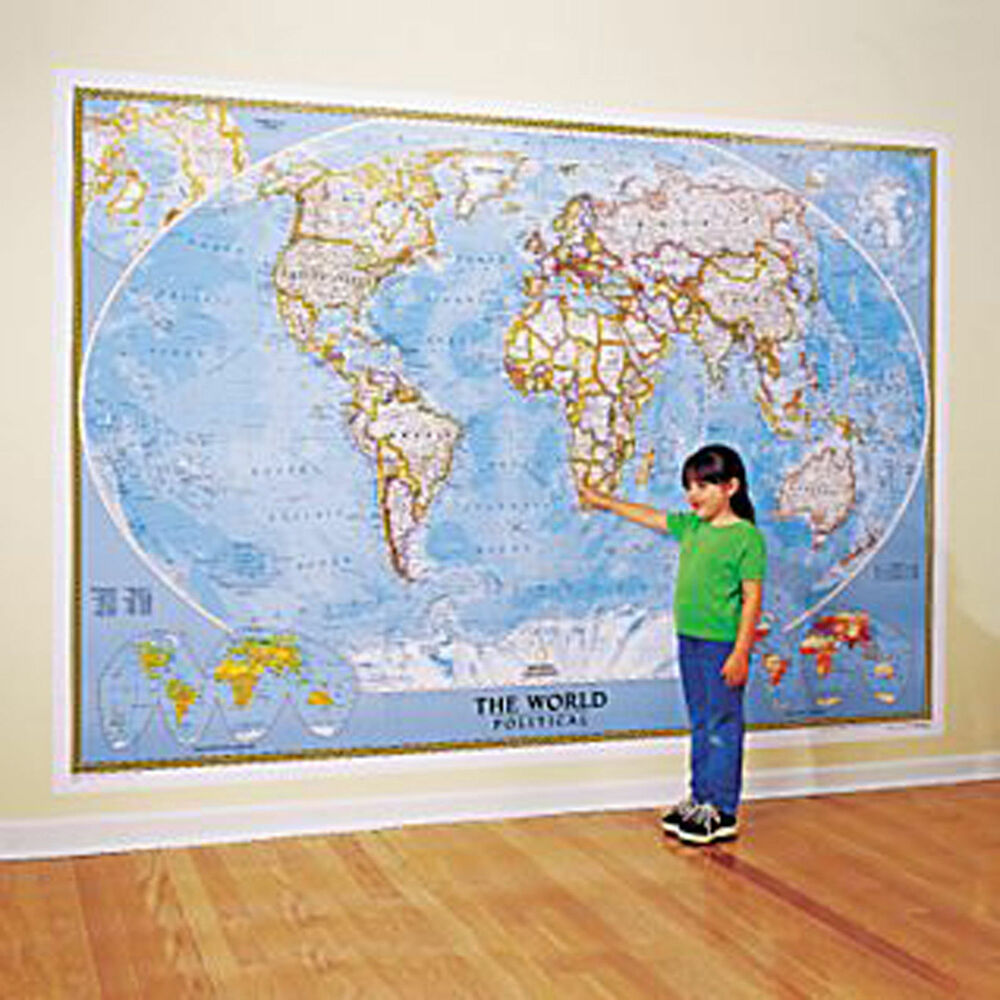 World map national geographic 110x76 wall map mural for Classic world map wall mural