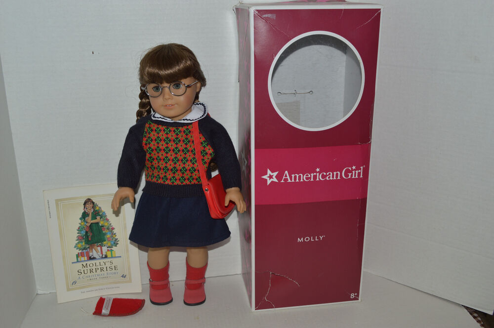 american girl doll molly in meet outfit glasses case purse shoes original box ebay. Black Bedroom Furniture Sets. Home Design Ideas