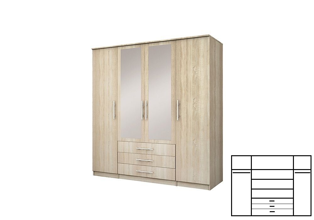 Modern 4 3 2 Door Wardrobe Mirror Hanging Rail 3 Drawers 6