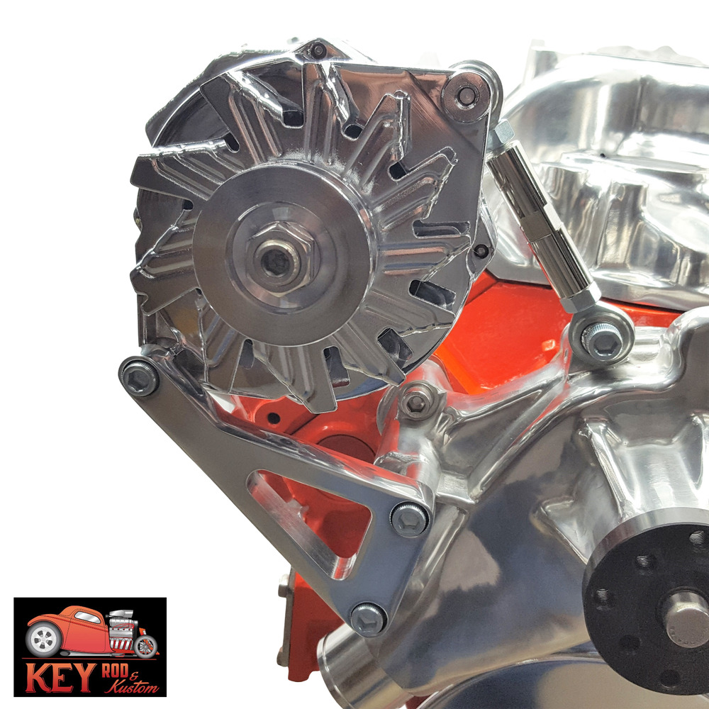 Car Parts List With Pictures >> Small block Chevy aluminum alternator bracket long water pump 350 SBC LWP 305 | eBay