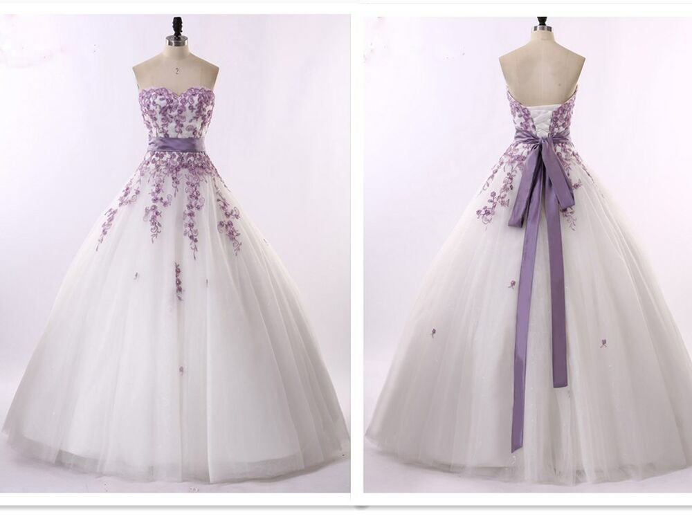New white and purple wedding dresses bridal gowns size 6 8 for Ebay wedding dresses size 12