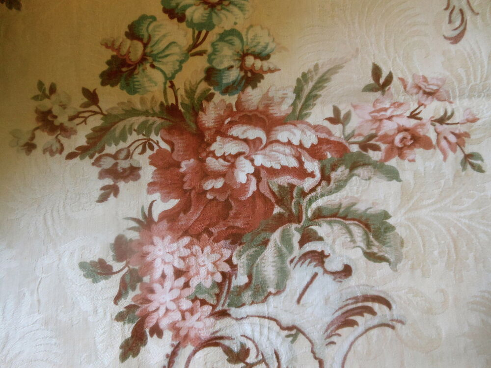 Damask fabric ebay - Antique French Floral Cartouche Damask Cotton Fabric