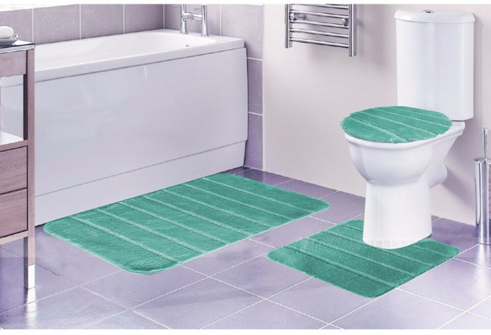 louise 3 piece bathroom rug set bathroom rug contour rug and lid cover aqua ebay