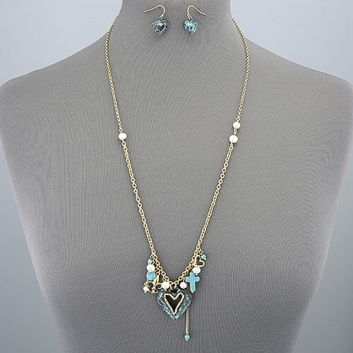 Gold Vintage Chain Pearl Turquoise Patina Heart Cross
