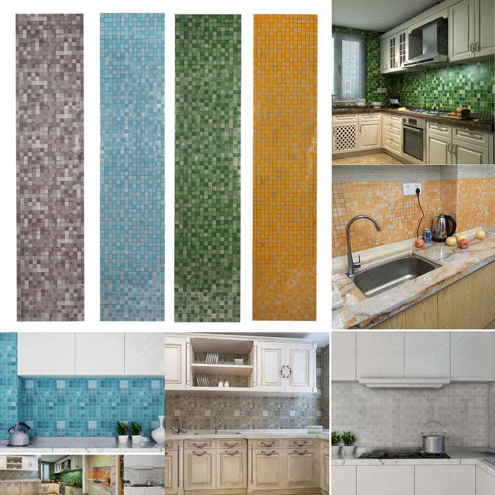 Wallpaper Tiles For Kitchen: 45x200cm Adhesive Aluminum Mosaic Foil Oil Proof Tile