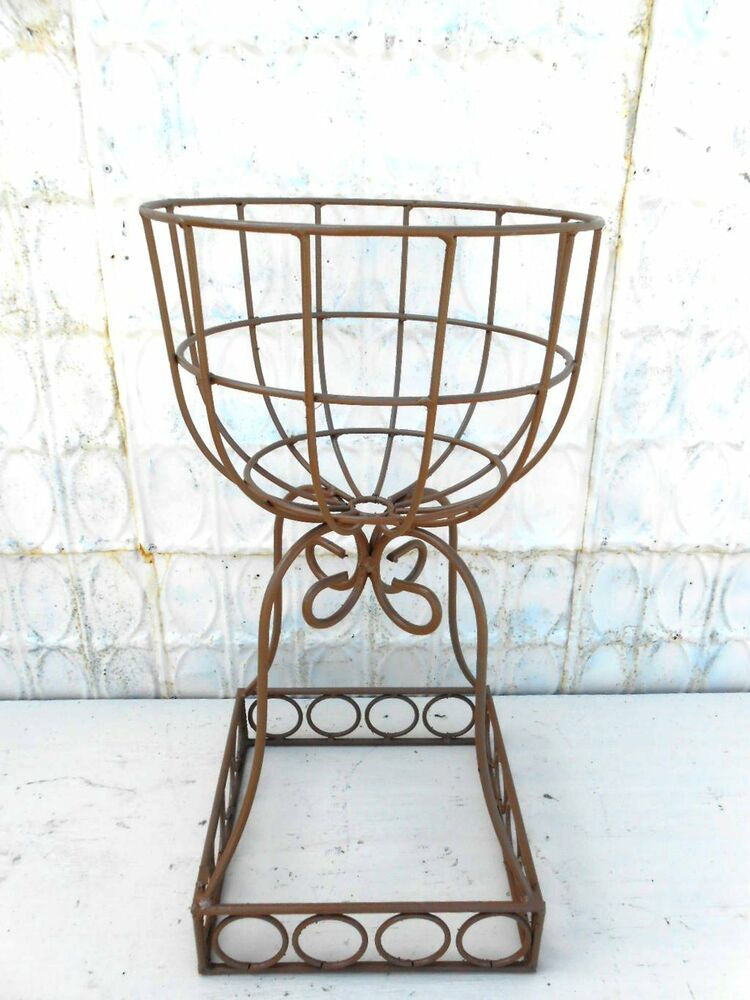 wrought iron sq base rd urn plant stand small stature ebay. Black Bedroom Furniture Sets. Home Design Ideas