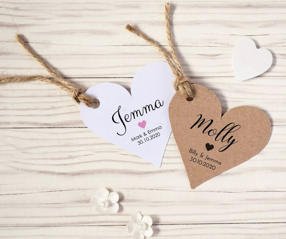 personalised heart shaped wedding place name card tags  ebay