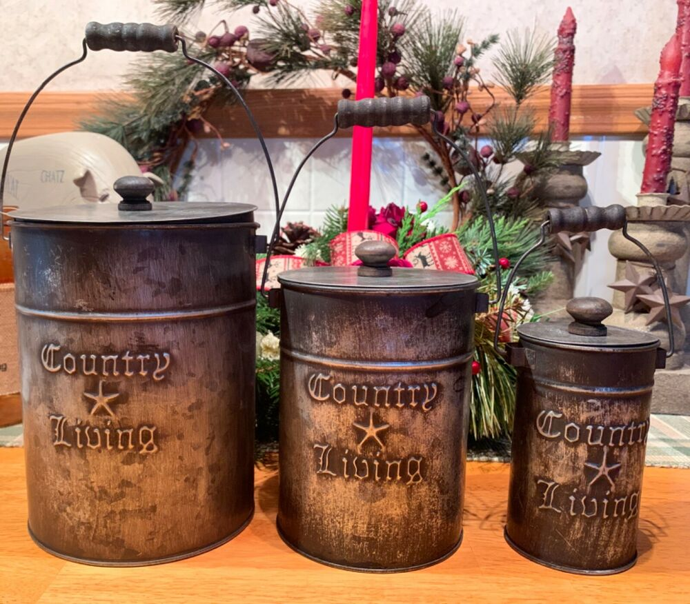 primitive kitchen canisters country primitive set 3 country living tin 3 14637
