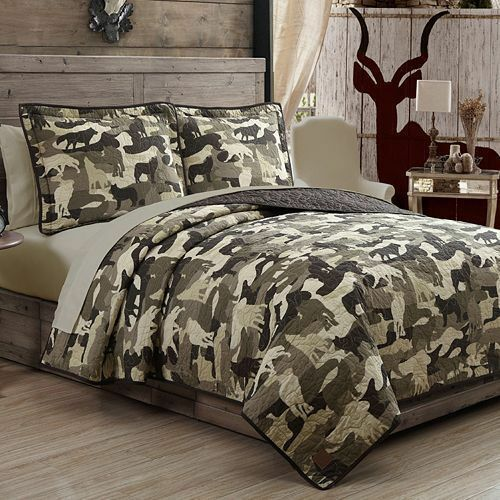 field stream wolf camo 3 pc king quilt set brand new factory sealed ebay. Black Bedroom Furniture Sets. Home Design Ideas