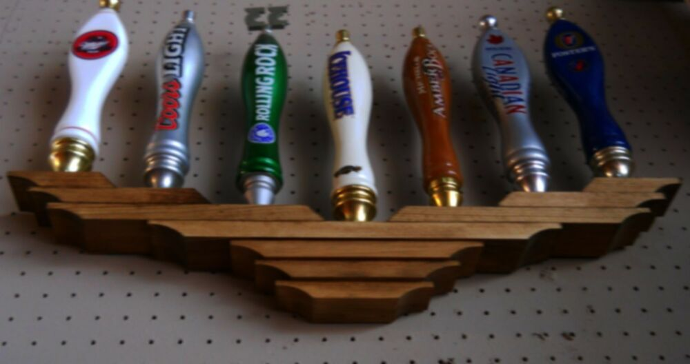 7 Beer Tap Handle Display Multi Level Wall Mounted