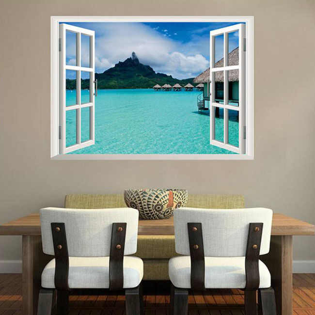 Removable 3d ocean window home decor sticker wall decal for Door mural decals
