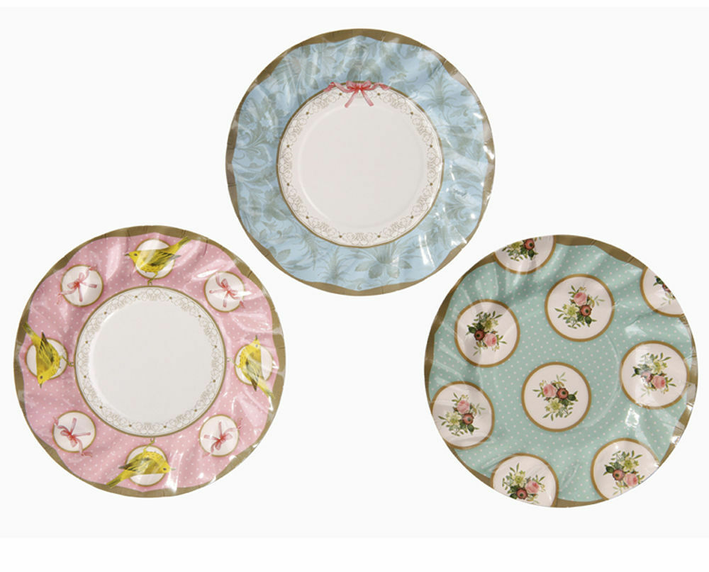 12 luxury vintage style afternoon tea party paper plates for Lampe style shabby chic