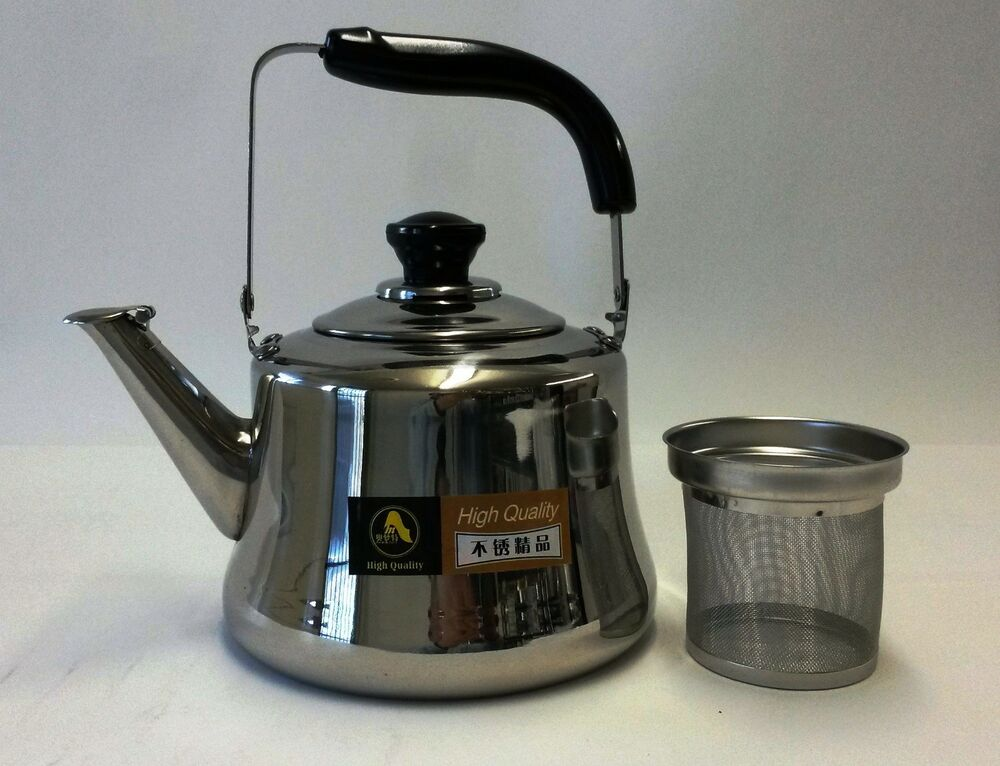 Stainless Steel Kettle ~ Stainless steel tea kettle pot with infuser filter