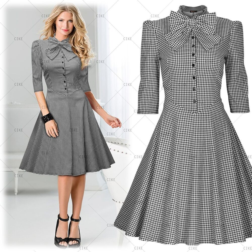 Womens Vintage Summer Elegant Bowknot Cocktail Party ...