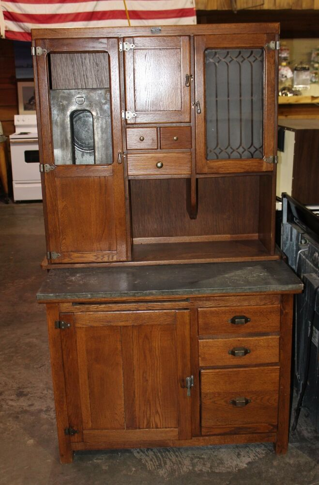 Antique 1920s Solid Oak Hoosier Cabinet By Red Wing
