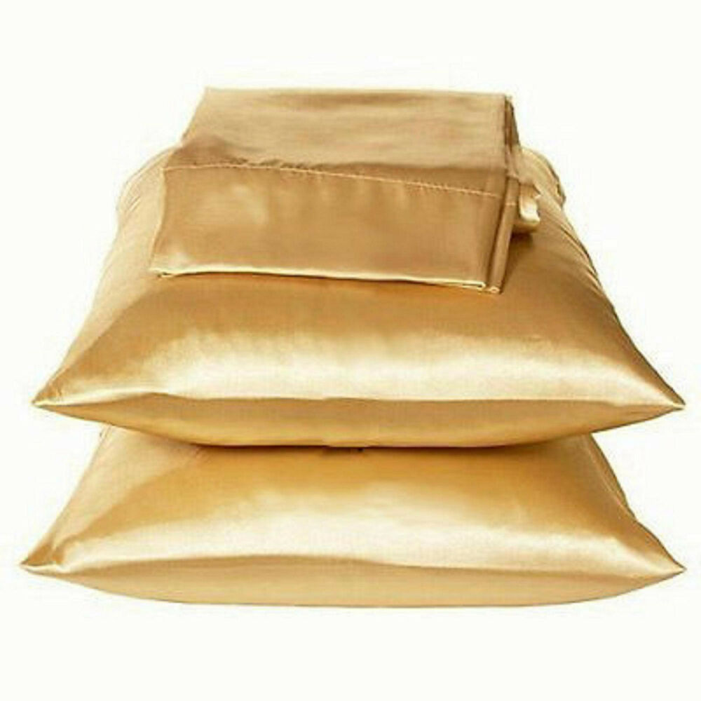 2 standard queen size satin pillow cases covers gold color brand new ebay. Black Bedroom Furniture Sets. Home Design Ideas