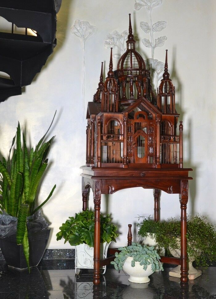 wooden bird cage antique birdcage brown large decorative canary stand ebay. Black Bedroom Furniture Sets. Home Design Ideas