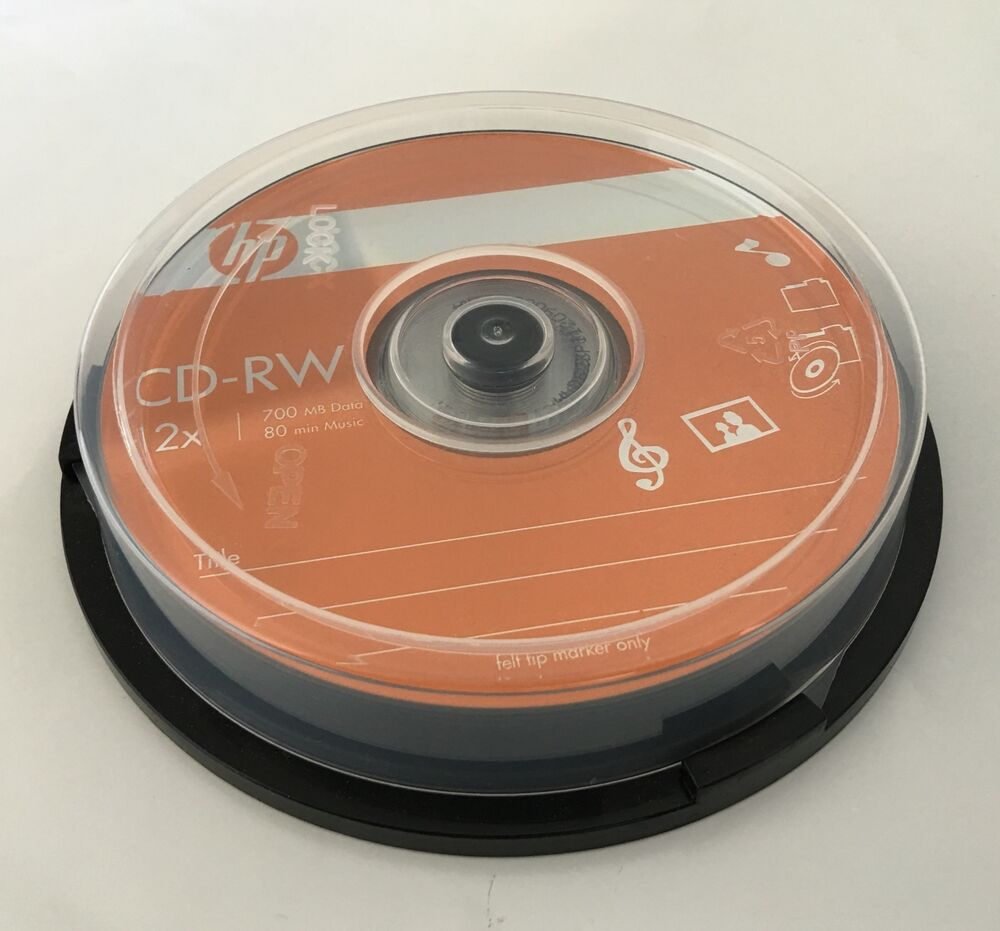 10 pieces hp logo 12x cd rw cdrw rewritable blank disc 700mb in cake box ebay. Black Bedroom Furniture Sets. Home Design Ideas