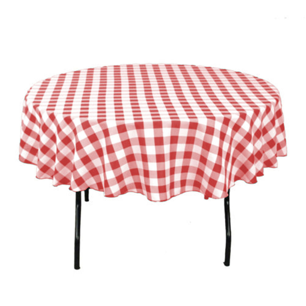 tablecloth round checkered 45 polyester by broward linens variety colors ebay. Black Bedroom Furniture Sets. Home Design Ideas
