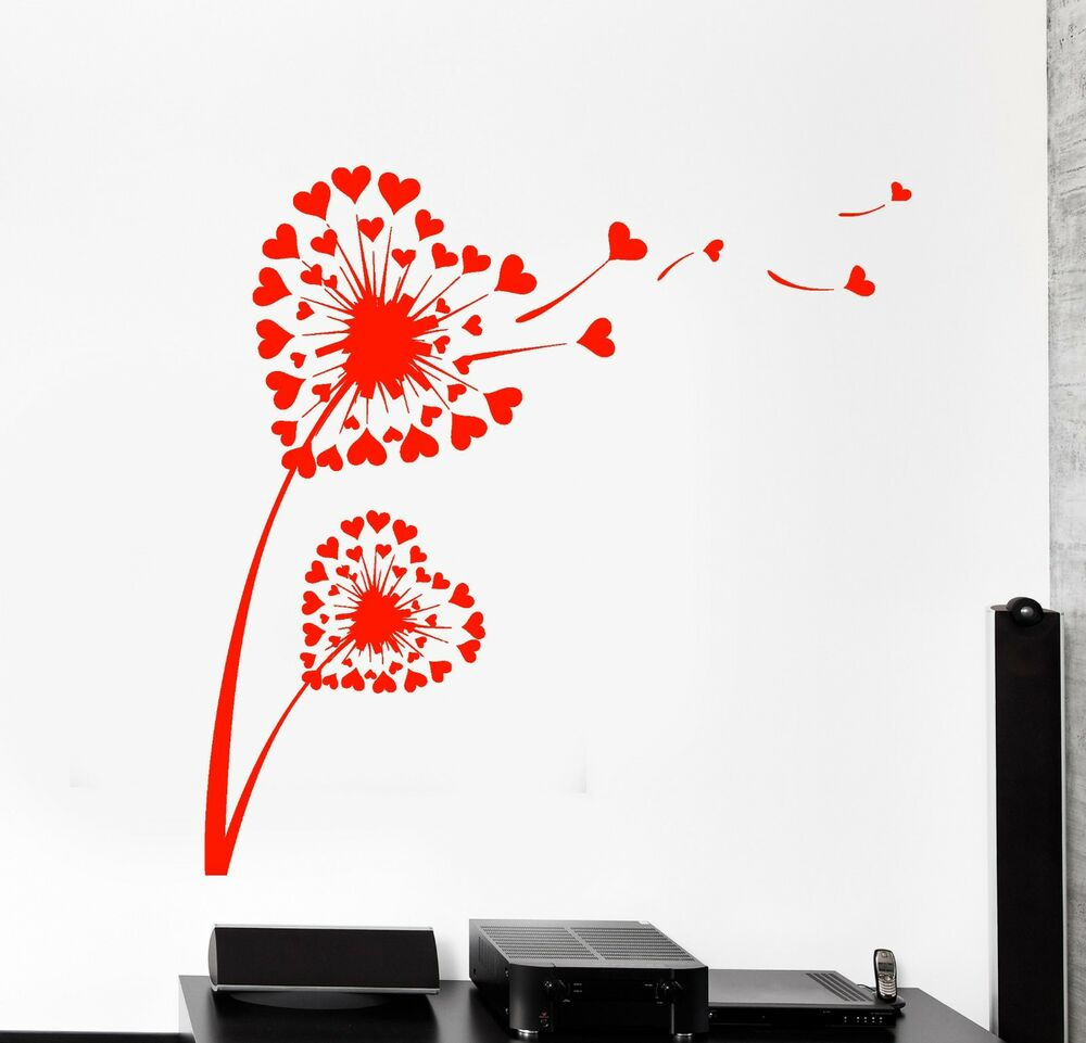 Wall Vinyl Decal Flower Heart Dandelion Romantic Bedroom Amazing Decor