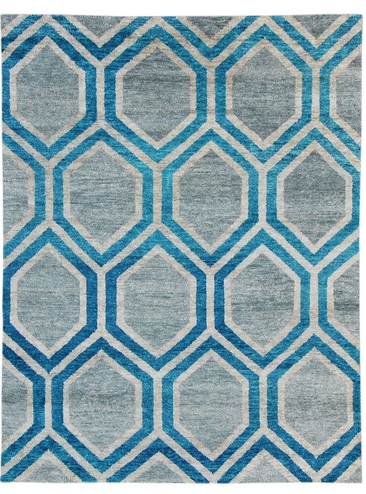 5x7 Hexagonal Honeycomb Design Handmade Rugs Gray New