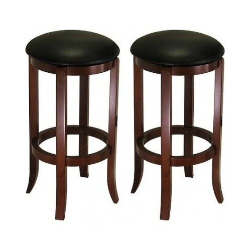 Bar Stool Set 2 30 Inch Stools Swivel Faux Leather Seat