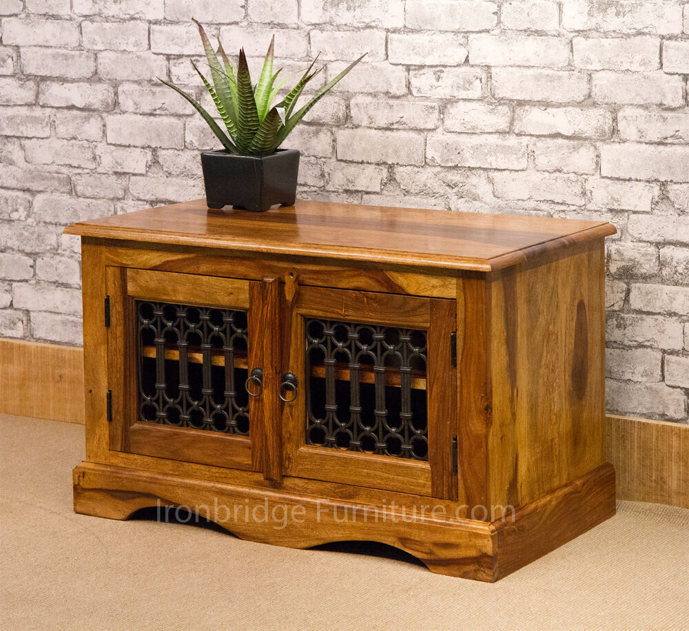 Solid Wood Jali Rosewood Sheesham Small TV Stand Cabinet