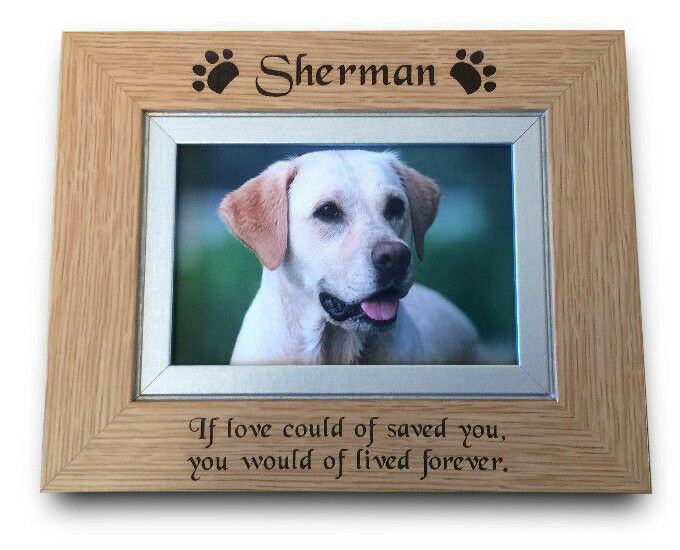 Engraved Personalised Pet Memorial Solid Oak Wood Photo
