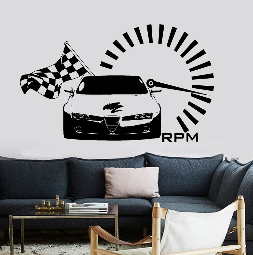 Wall vinyl decal racing race car tachometer speed red zone for Amazing race car wall decals