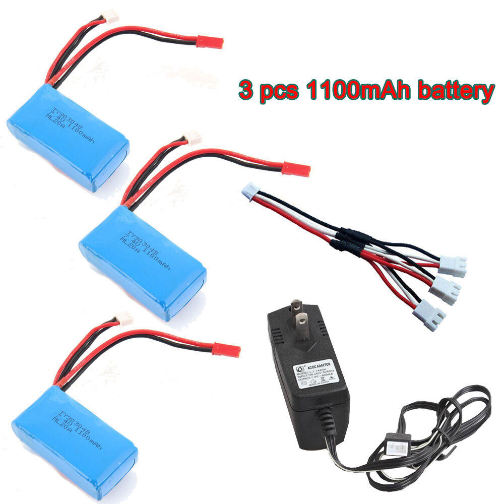 3x 7.4V 1100mAh Battery+Charger+Cable For WLtoys RC Car