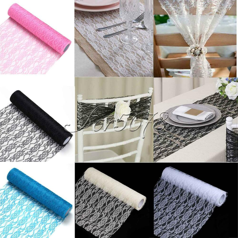 12 x10y vintage lace roll fabric tulle table runner chair sash wedding decor ebay. Black Bedroom Furniture Sets. Home Design Ideas