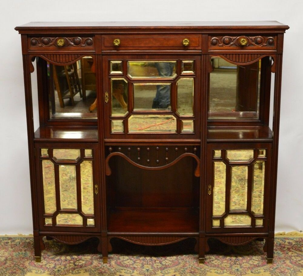 antique walnut carved mirrored etagere display cabinet tall tv stand buffet ebay. Black Bedroom Furniture Sets. Home Design Ideas