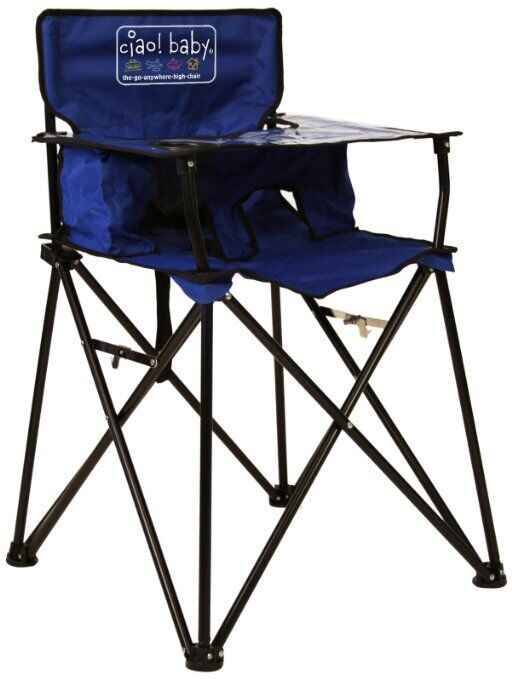 Blue Folding Portable Travel High Chair Camping Chair watch video Ciao Baby