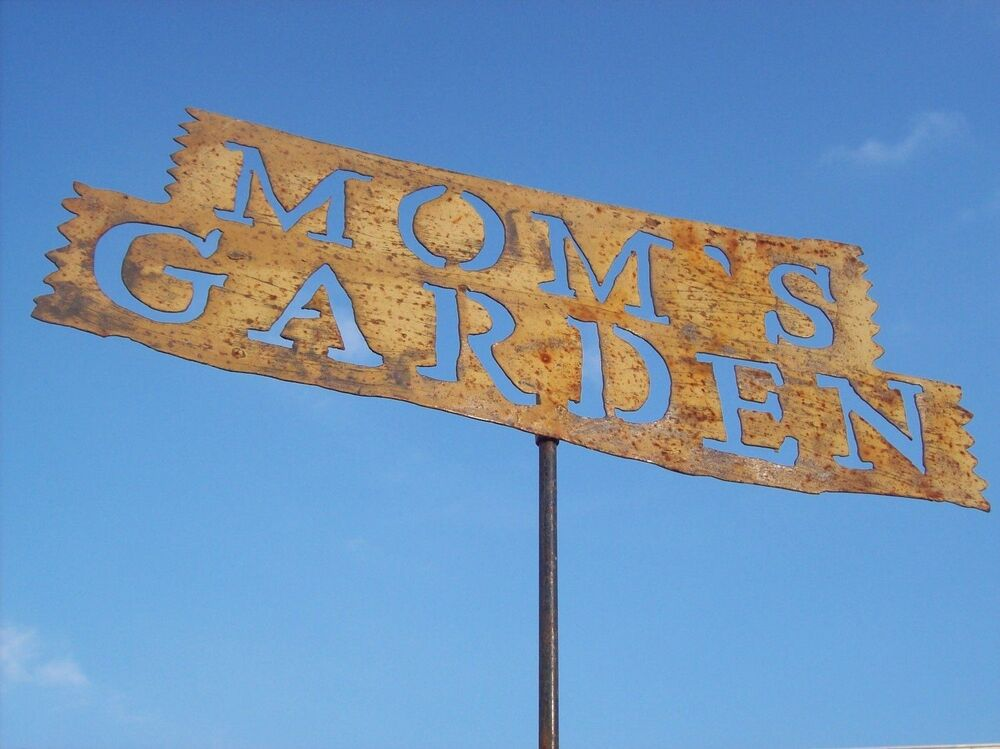 Tin moms garden sign stake home decor metal yard ornament for Outdoor decorative signs